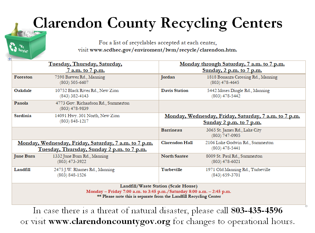 Picture of Clarendon Recycling Center Schedule